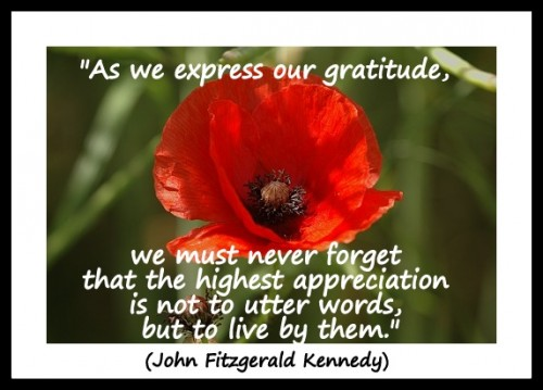"Coaching Quote of the Day 11th November 2012 ""As we express our gratitude, we must never forget that the highest appreciation is not to utter words, but to live by them."" (John Fitzgerald Kennedy)"