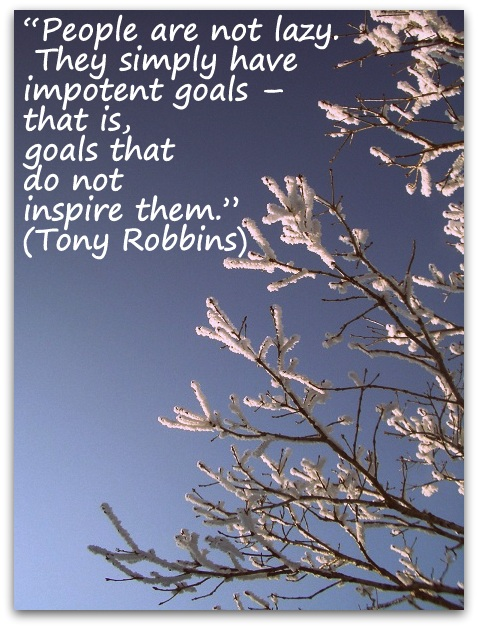 """People are not lazy. They simply have impotent goals – that is, goals that do not inspire them."" (Tony Robbins)"