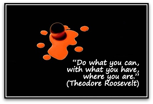"""Do what you can, with what you have, where you are."" (Theodore Roosevelt)"