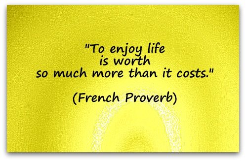 """To enjoy life is worth so much more than it costs."" (French Proverb)"