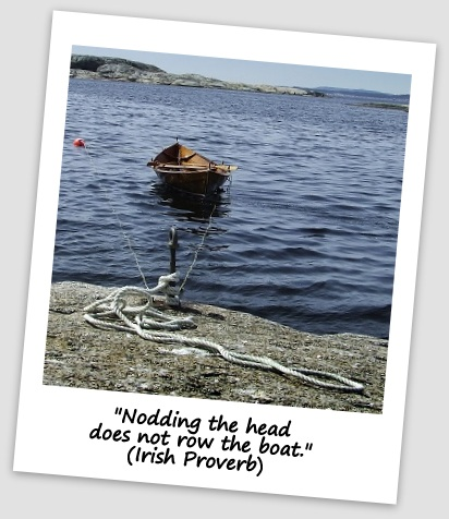 """Nodding the head does not row the boat."" (Irish Proverb)"