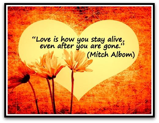 """Love is how you stay alive, even after you are gone."" (Mitch Albom)"