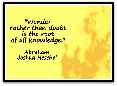 """Wonder rather than doubt is the root of all knowledge."" (Abraham Joshua Heschel)"