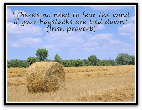 """""""There's no need to fear the wind if your haystacks are tied down."""" (Irish proverb)"""